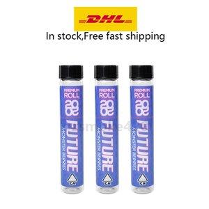 20 20 Futuro Pre-roll de embalaje 420 del tubo de cristal del envase con la etiqueta autoadhesiva King Tamaño del tubo de corcho pre tubos de rodillos de pre-roll envases