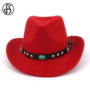 FS Spring Winter Red Ethnic Belt Felt Hats Wide Brim Fedora For Men Women Elegant Vintage Top Hat Western Cowboy Sombrerero