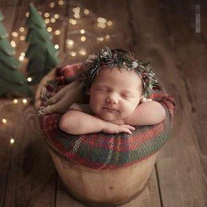 3Pc Set Newborn Photography Backdrops Baby Boy Girl Christmas Xmas Photo Shoot Plaid Blanket Wrap Hat Sets foto Shooting Props