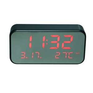 USB مرآة ساعة المنبه الرقمية القابلة لإعادة الشحن الموسيقى المنبه غفوة مع الخلفية الوقت التاريخ عرض درجة الحرارة
