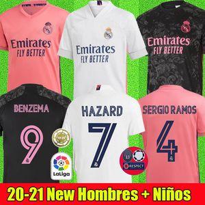 REAL MADRID maillots de football 20 21 HAZARD SERGIO RAMOS BENZEMA VINICIUS camiseta maillot de foot uniformes hommes + enfants enfant kits