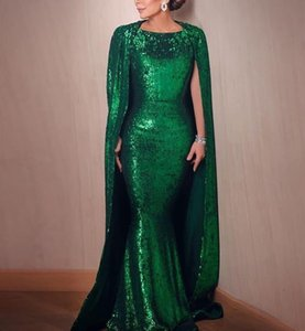 Emerald Green Sequined Long Evening Dresses With Wrap Bateau Arabic Formal Mermaid Prom Dresses robes de soirée Special Occasion Dress