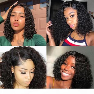 13x6 Short Curly Wig Lace Front Human Hair Wigs For Women 150% Density Black Full Ends Deep Part Brazilian Hair Bob Wig Remy