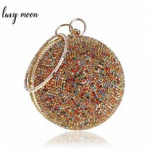 New Arrival Women Evening Clutch Bags Full Crystal Diamonds Round Shaped Clutches Lady Handbags Wedding Purse Chain Shoulder Bag KsmC#