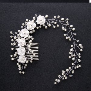 New Korean Fashion Style White Flower Simulated Pearl Crystal Hair Combs Headband Bridal Bride Noiva Wedding Hair Jewelry Clips