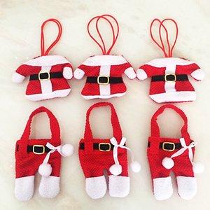 Рождественский дизайн Ткань Cutlery Set Santa Claus Малый одежды нож и вилка мешок Принадлежности для Рождества оптом