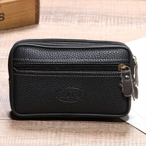 BISI Cow leather waist bag on the belt outdoor small wallet Wear resistant fanny waist pack Multi function phone coin men