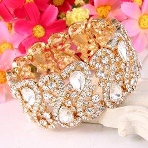 Tuliper Круглые браслеты Bridal теннис браслет Rhinestone австрийских кристаллов Свадебный браслет для женщин партии Ювелирные аксессуары