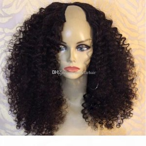 1*4 Left Opening U Part Human Hair Wigs For Black Women 9A Brazilian Virgin Kinky Curly Upart Wigs 130% 150% 180% Density