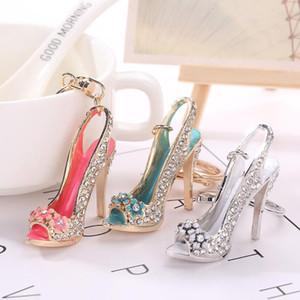 High Heel Shoe Keychain Rhinestone Crystal Purse Car Key Chain Bag Decorative Alloy Keyring Fashion Accessories