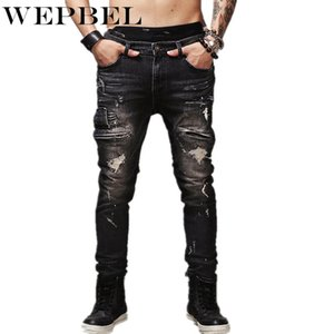 WEPBEL Hip Hop Rock Moto Jeans Hommes Distressed Ripped Punk Denim Skinny Stretch Biker Jeans Homme Pantalon droit noir Taille Plus