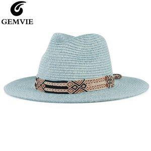 GEMVIE 2020 Soft Shaped Panama Style Paper Straw Hat For Women Summer Hat For Men Sun Beach Jazz Fedora