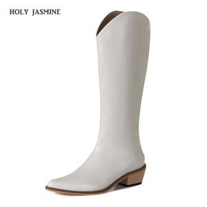 Boots Black Brown White Knee High Western Cowboy For Women Long Winter Pointed Toe Cowgirl Wedges Motorcycle
