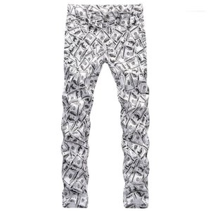 Casual Jungen-Hose Frühling Mens 3D Printed Hosen Hiphop-Dollar-Muster Fashion Male Bleistift-Hosen-Reißverschluss Gerader
