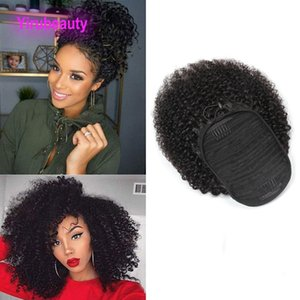 Brasileira 100% cabelo humano Ponytails Afro Kinky Curly 8-20inch Kinky Curly Virgin Cabelo Nautral Cor pônei indiano Tails Peruivan Malásia