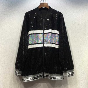 New Woman shining Sequins Jacket Short Top Women Jacket Sequined Coat Hip hop rock letters O-Neck Out Wear Women College