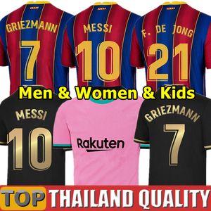 20 21 FC BARCELONA Fußballtrikots camiseta de futbol ANSU FATI 2020 Messi GRIEZMANN DE JONG Fußballtrikot-Set Männer Frauen Kinder-Kit Uniformen