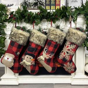 """Рождественские чулки 18"""" Burlap Плед Стиль Снежинка Санта снеговика Олени Плюшевые искусственного меха манжета Xmas Декор DHE1252"""