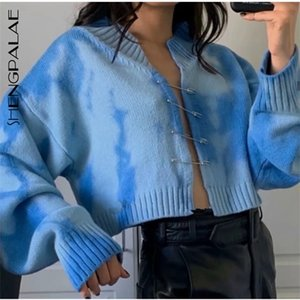SHENGPALAE 2020 New Autumn Long Sleeve Jumper Knitted Loose Fashion Pullover Femme Gradient Tie-dye Big Pin Swaeter ZA5053 0925