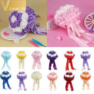 Bridal Wedding Bouquet Handmade Artificial PE Foam Rose Flowers With Rhinestone Satin Ribbons Bow Wedding Party Favors Decor