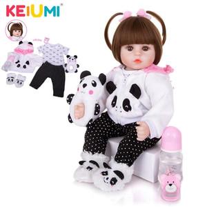 KEIUMI Оптовая 18 «» Новорожденный Силикон Menina Reborn Baby Doll Cute Panda мультфильм BeB Детский день подарки с 3 шт зажим для волос C0924