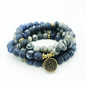 Stone Of Power-Healing Meditation Gebet-Korn-Halskette 108 Mala Yoga 8mm Matt J-Asper und Sodalith OM-Armband für Männer