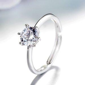 Clásico de seis garra de la oferta del boda Cuerpo borde biselado del anillo de diamante de sexo femenino ligero anillo plateado platino abierto