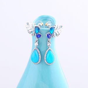 Blue Crystal Pendant Earrings Rhodium Color Glass Luxury Grace Women Fashion Accessory Earrings Allergy Free Wholesale
