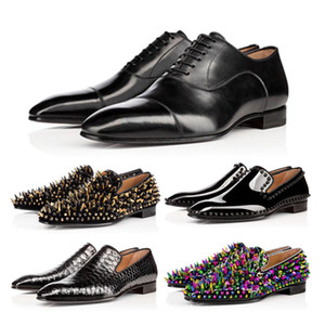 Высокое качество Red Bottom Кожа Мужская обувь Матовый лакированной кожи замши Стилист Чистка обуви Заклепки Mens Бизнес Свадебный банкет платье обувь