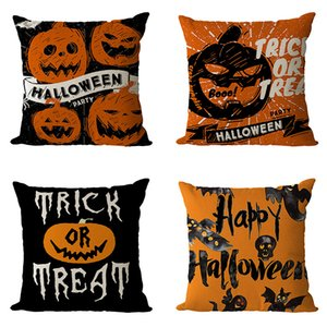 "DHL 18"" x 18"" Halloween Pillow Case Happy Halloween Linen Sofa Bed Throw Cushion Cover Decoration Pillow Cover for Sofa, Couch, Bed car"