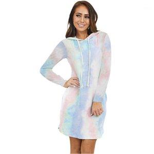 Trend Eğim Uzun Kollu Top Elbise Tasarımcı Kadın Casual Gevşek Kapşonlu Tee elbise Kadınlar Tie-boya Hoodie Cep Elbise Moda