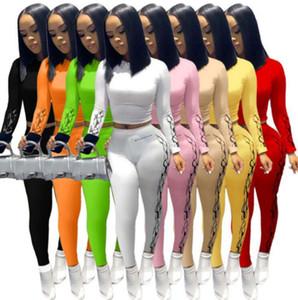 8 farbe frauen lange zwei stück set modisch bedruckt t shirt hosen outfits designer sexy weste leggings casual jogging kleidung p
