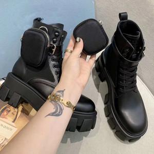 Дизайнер кожа нейлон Bottes мода щетки Rois женщины зимы мартеновских пинетки черные съемный мешок платформа ботильоны