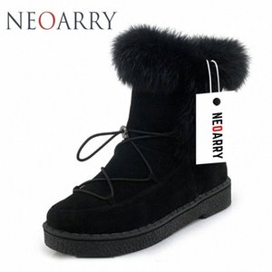 Neoarry Winter Boots Womens Snow Boots Lace Up Warm Fashion Fur Ankle Booties Low Heel Russia Ladies Footwear Big Size LT70 MetS#