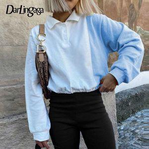 Darlingaga Gelegenheits Y2K Ästhetische Patchwork Kurz Sweatshirt Frauen Harajuku Tunnelzug Pullover Herbst Sweatshirts Kontrast-Farben