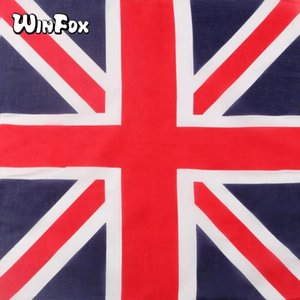 Winfox Cotton Hip Hop British UK Flag Red Navy Striped Bandana Headwear Hair Band Scarf Neck Wrist Wrap Headtie For Men Women