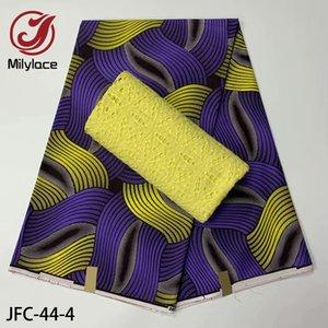 3yards africano Prints Wax Tecido Hign Qualidade Brocade Fabric resistente à abrasão Wax + 2.5yards Cotton Lace Tecido JFC-44
