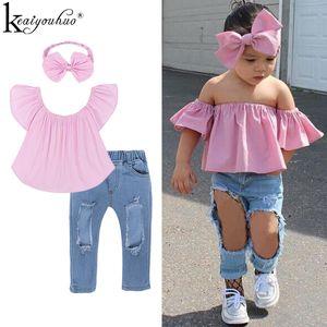 Girls Clothes Sets Summer Off Shoulder Top+Broken Hole Jeans Children Clothing Set Tracksuit For Kids Clothes Girls Sport Suits X0923