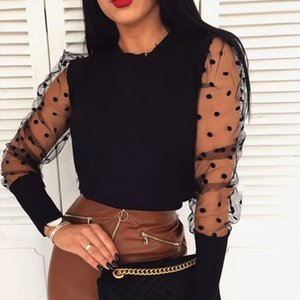 Women Puff Mesh Sleeve Tops Pullover Sweater 2019 Autumn Warm Knitwear Fashion Warm Female Slim Long Sleeve Jumper Tops