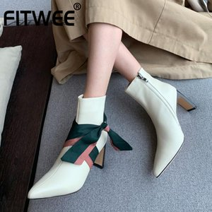 FITWEE Women Ankle Boots Fashion Zipper Real Leather High Heel Shoes Women Warm Winter Boots Office Lady Footwear Size 30-46