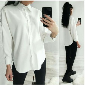 Lizkova White Corduroy Formal Shirt Women Long Sleeve Official Blouse Ladies Oversized Tops 8876 200922