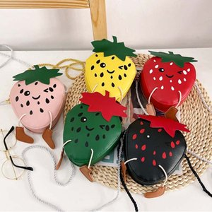 Fashion PU Leather Cute Strawberry Coin Purses Kids Mini Shoulder Bags Baby Girl Coin Purse Princess Accessories birthday gift