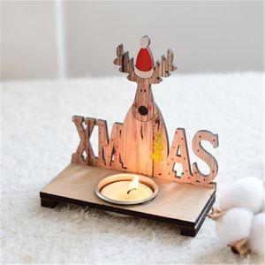 خشبي ضوء شمعة حامل الجدول الرئيسية دير سانتا شمعة زينة عيد الميلاد للمنزل رومانسية مركز الجدول عيد الميلاد L