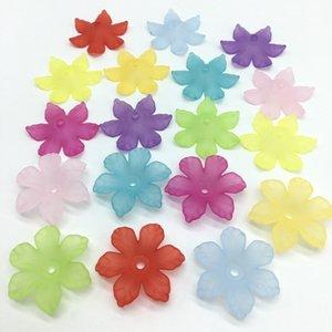 26mm Kunststoff Acrylic transluzente Blatt Scrub Beads Chrysanthemum Blumen Beads für Schmuck Herstellung Handgemachte 70PCS blade / bag