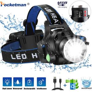 Faróis 8000lumens faróis LED L2 / lâmpada T6 Zoomable Farol Lanterna de Cabeça Head de 18650 para Caça Pesca
