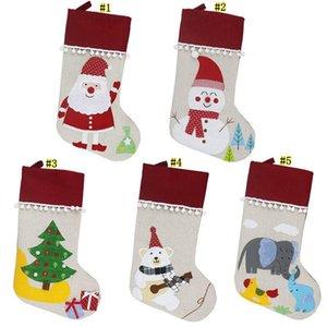 Christmas Linen Stocking Santa Xmas Tree Hanging Socks Xmas Kids Gifts Storage Bags Christmas Tree Pendant Gift Bag