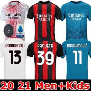 20 camisa de futebol 2020 camisa de futebol 2021 IBRAHIMOVIC Piatek 21 AC Milan manga longa Paquetá Bennacer homens crianças Rebic camisa de Futebol 120
