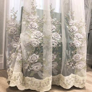 European high-end  window screen embossed rope embroidery flower tulle curtain for living room bedroom beige sheer ZH400X
