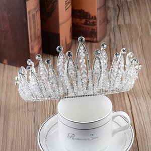 Europe and the United States crown crystal handmade beaded headdress bride Baroque jewelry wedding dress accessories headdress