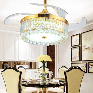 LED Light Crystal Ceiling Fans Modern Luxury Decorative Fan Lamp Living Room Led Crystal Ceiling Fans with Light Free shipping